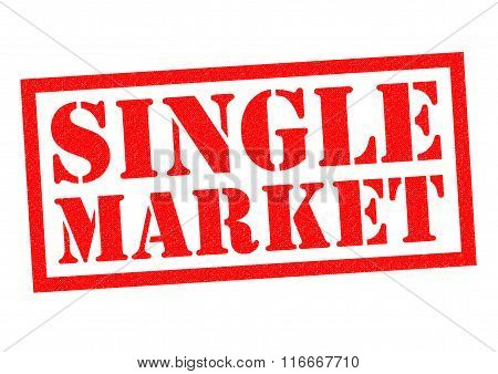 SINGLE MARKET red Rubber stamp over a white background.