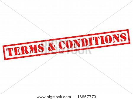 TERMS & CONDITIONS red Rubber Stamp over a white background.
