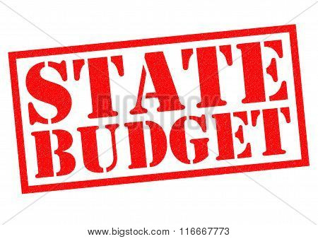 STATE BUDGET red Rubber Stamp over a white background.