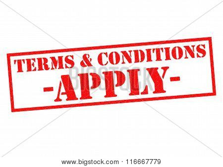 TERMS & CONDITIONS APPLY red Rubber Stamp over a white background.