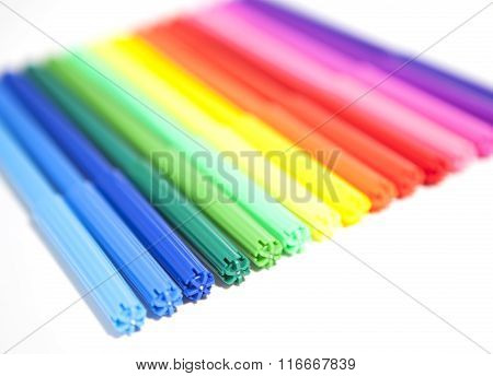 Colorful Felt Tip Pens. Multicolored Pens on a white background .