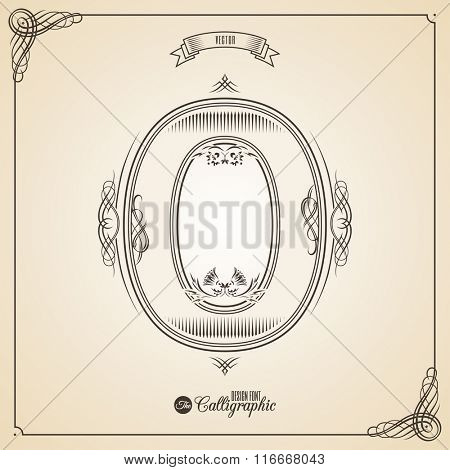 Calligraphic Fotn with Border, Frame Elements and Invitation Design Symbols. Collection of Vector glyph. Certificate and Decor Design Elements. Hand written retro feather Symbol. Number 0