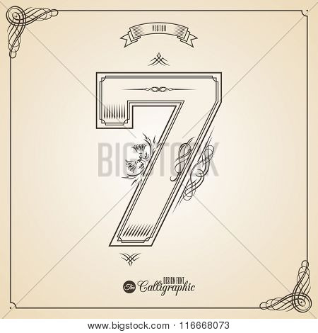 Calligraphic Fotn with Border, Frame Elements and Invitation Design Symbols. Collection of Vector glyph. Certificate and Decor Design Elements. Hand written retro feather Symbol. Number 7