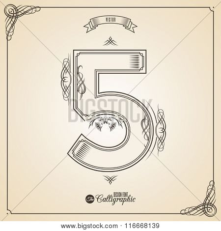 Calligraphic Fotn with Border, Frame Elements and Invitation Design Symbols. Collection of Vector glyph. Certificate and Decor Design Elements. Hand written retro feather Symbol. Number 5