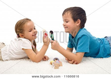 Happy Kids - Boy And Girl - Playing On The Floor