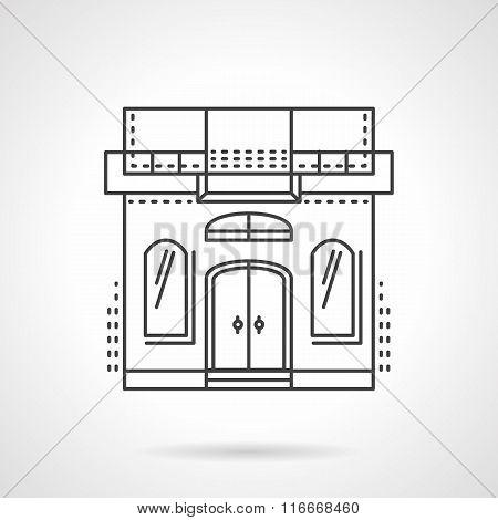 Sewing studio building facade line vector icon
