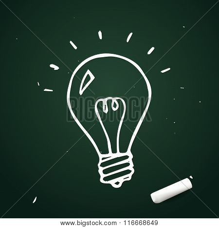 Vector Light Bulb Hand Drawn With Chalk, Doodle Idea Icon