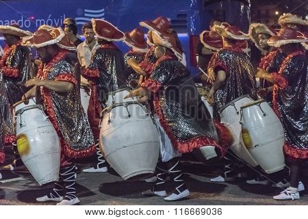 Group Of Candombe Drummers At Carnival Parade Of Uruguay