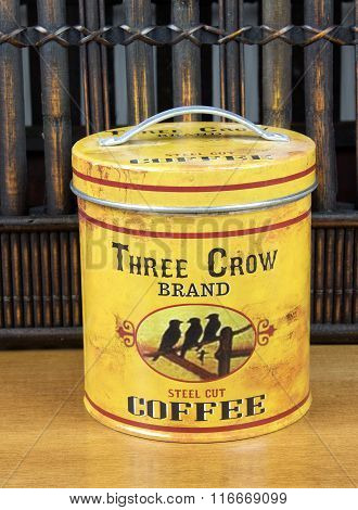 Three Crow Coffee Tin