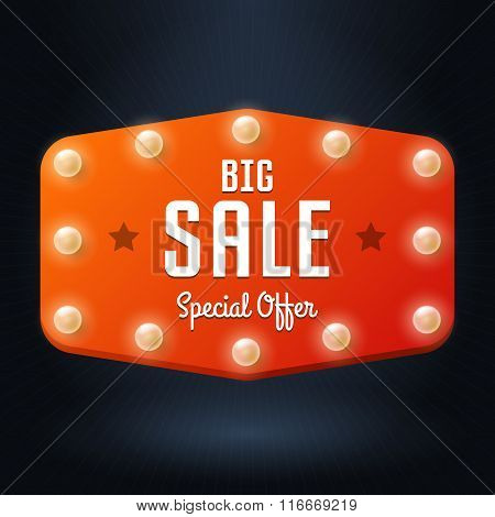 Vector Banner With Text Big Sale, Billboard In Retro Style With Bulbs