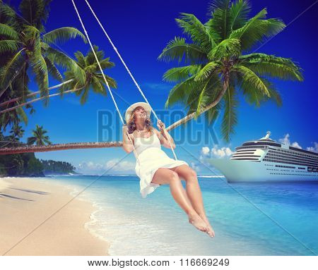 Woman Swinging Summer Beach Relaxing Concept
