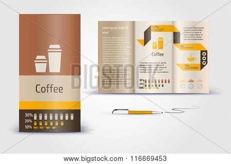 Coffee  brochure. Color application booklet template design for corporate identity with statistics and infographics. Cover layout and infographics. Business stationery.