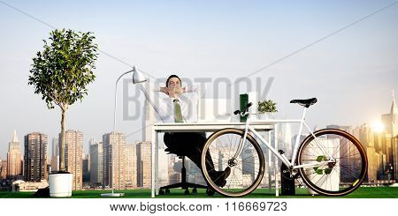 Businessman Bicycle Eco-Friendly Environmental Concept
