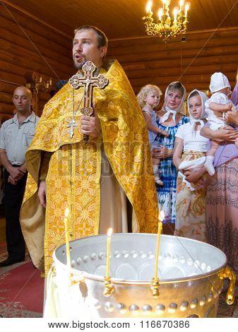 MURMANSK, Russian federation - december 12 2011, Church ceremony in the Christian Church, Murmansk