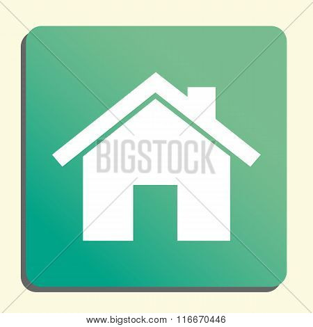 Home Icon, On Green Rounded Rectangle Background, White Outline