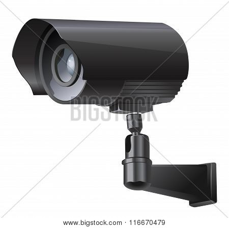 Surveillance camera viewed from the side
