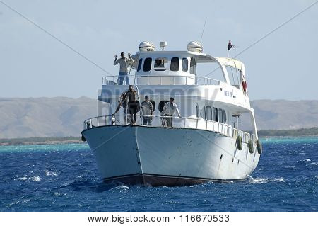 Tour by the tourist ship on Red sea, Hurghada, Egypt