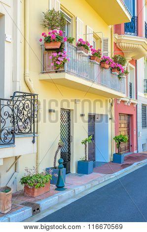 Fragment of Monaco Village, Monaco, France. Narrow streets in Old Town.