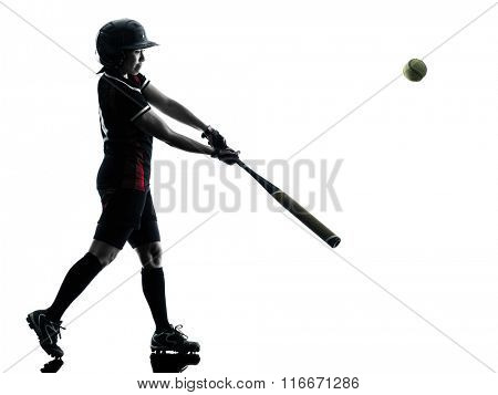 woman playing softball players silhouette isolated