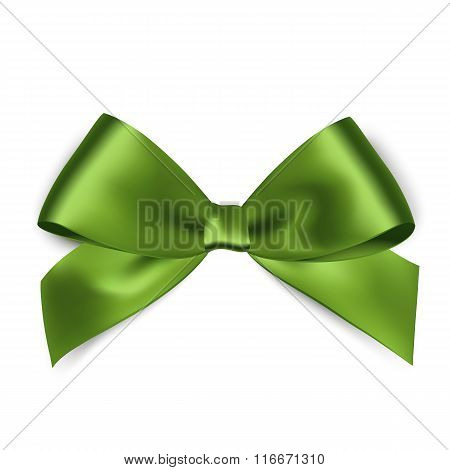 Shiny green satin ribbon on white background