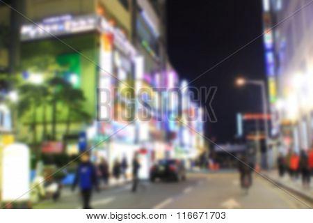 Korea Comunity In City With Blur Scene