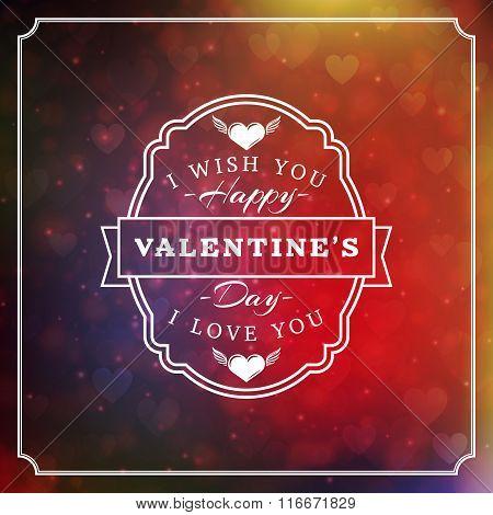 Happy Valentines Day Retro Typographical Badge. Valentines Day Card. Valentine Poster. Vector Illust