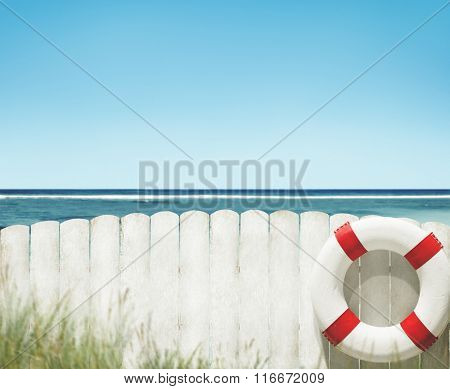 Buoy Sea Ocean Blank Fence Grass Rural Tranquil Concept