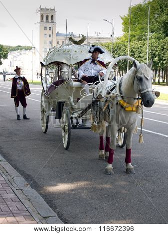 Smolensk, Russian federation - august 10 2011, Horse carriage on the street, Murmansk