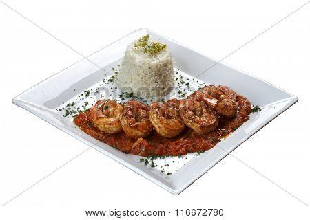 Large shrimp with tomato sauce