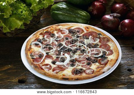 Pizza with olives, pepperoni and onion