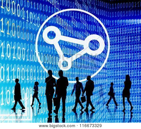 Business People Binary Code Sharing Technology Concept