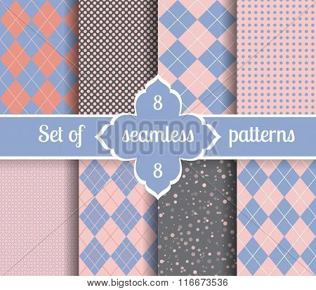 Set Rose Quartz And Serenity Geometric Patterns.  2016 Colors Of The Year