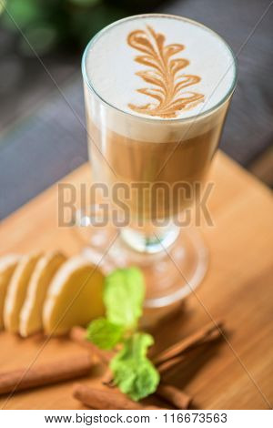 coffee with ginger cinnamon and mint closeup