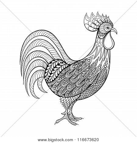 Rooster, Chicken, domestic farmer Bird for Coloring pages, zenta