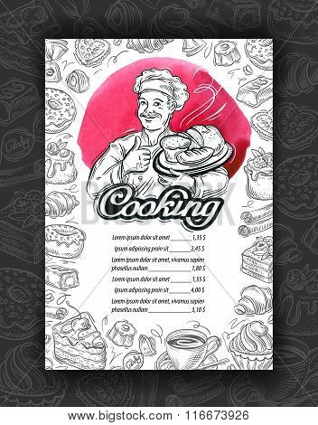 Cooking, cuisine. Design menu restaurant or cafe