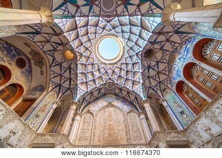 Kashan, Iran - December 9, 2015: Ornamental ceiling of Borujerdi Historical House in Kashan, Iran