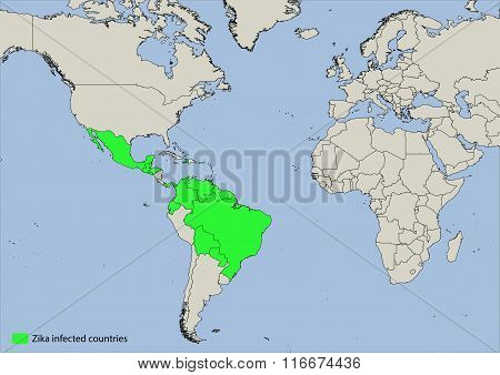 Map of zika virus infected countries
