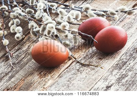 Easter Eggs And Willow On Wooden Background. Toned, Soft Focus, Copy Space