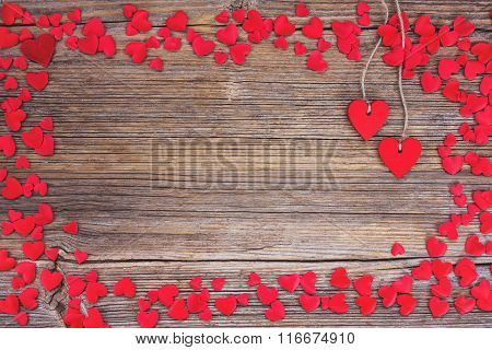 Valentines Day Background With Red Hearts. Toned, Soft Focus