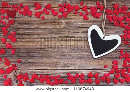 Valentines Day Background With Hearts. Toned, Soft Focus