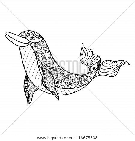 Zentangle vector sea Dolphin for adult anti stress coloring page