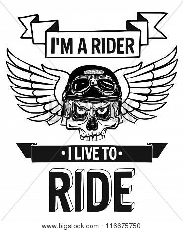 Vector biker quote with motivation phrase