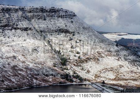 Welsh Hillside With Fresh Light Snow.
