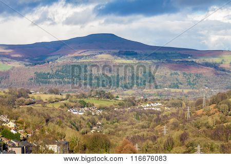 South Wales View Towards The Sugar Loaf Hill. Monmouthshire.