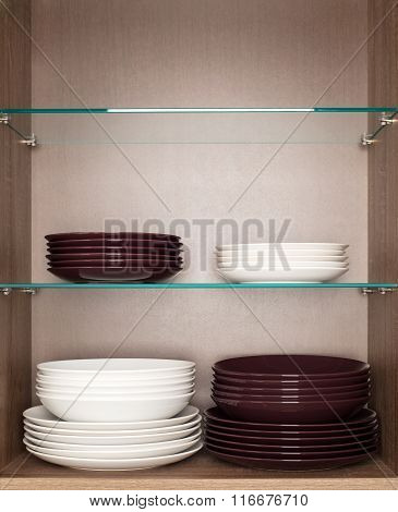 clean white and brown dishes