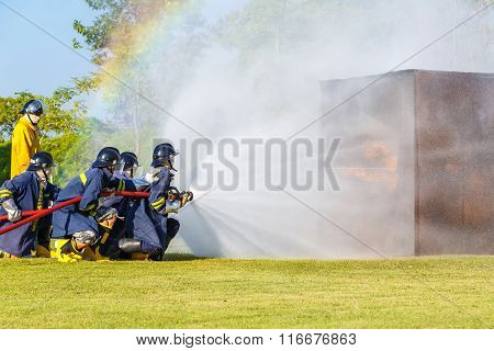 Firefighter Fighting For Fire Attack Training