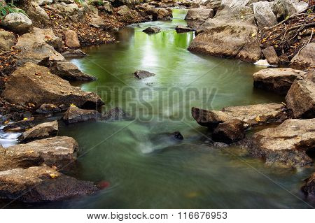 Landscape Of Flowing Water And Rocks