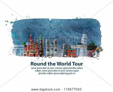 travel. historic architecture on a white background