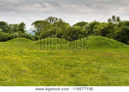 Three Ancient Tumuli, Barrows Or Burial Mounds.