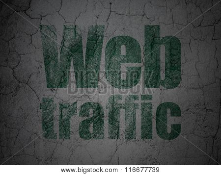 Web development concept: Web Traffic on grunge wall background